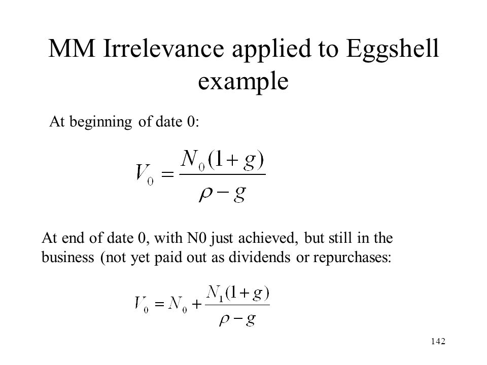 MM Irrelevance applied to Eggshell example