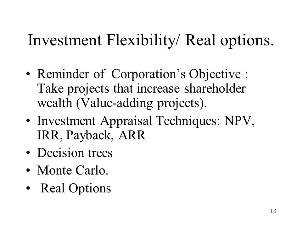 Investment Flexibility/ Real options.