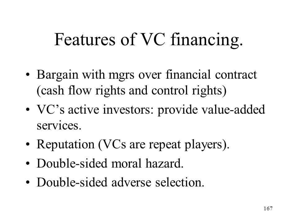 Features of VC financing.