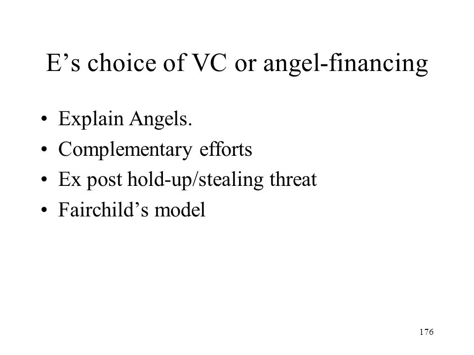 E's choice of VC or angel-financing
