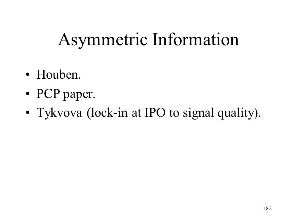 Asymmetric Information
