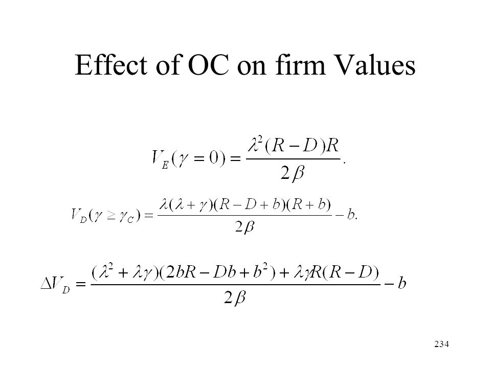 Effect of OC on firm Values