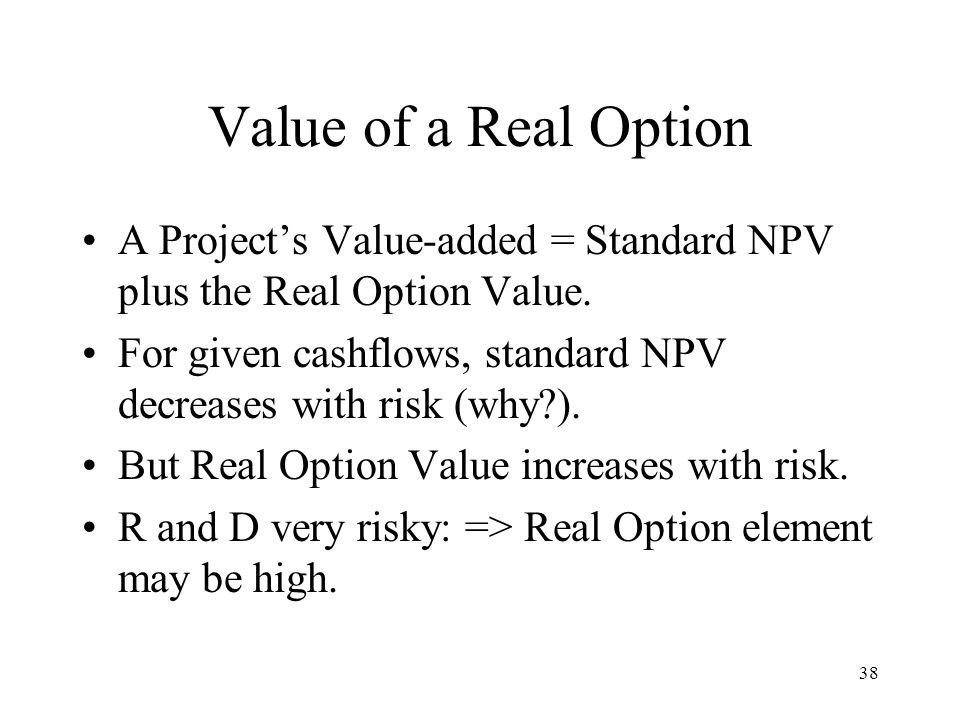 Value of a Real Option A Project's Value-added = Standard NPV plus the Real Option Value.