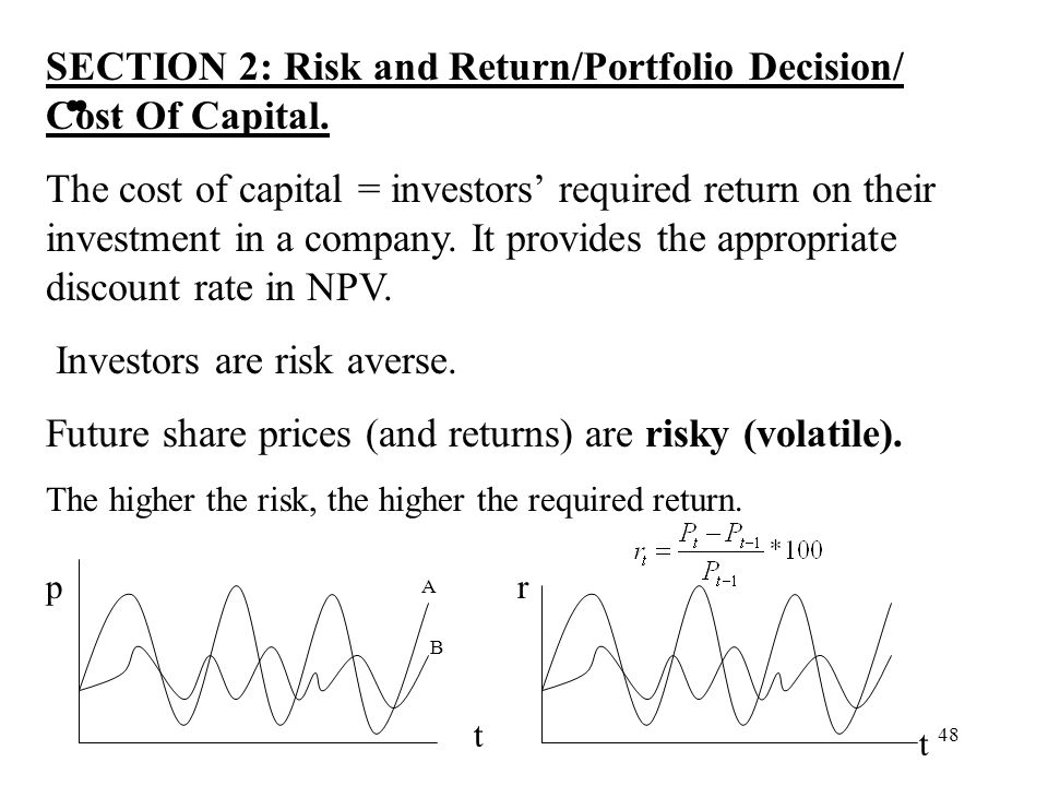 . SECTION 2: Risk and Return/Portfolio Decision/ Cost Of Capital.