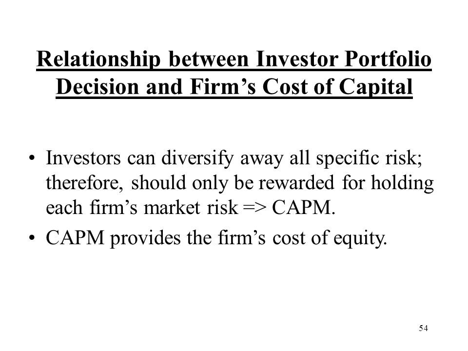 Relationship between Investor Portfolio Decision and Firm's Cost of Capital