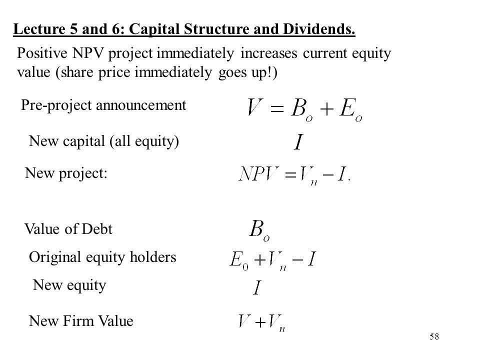 Lecture 5 and 6: Capital Structure and Dividends.