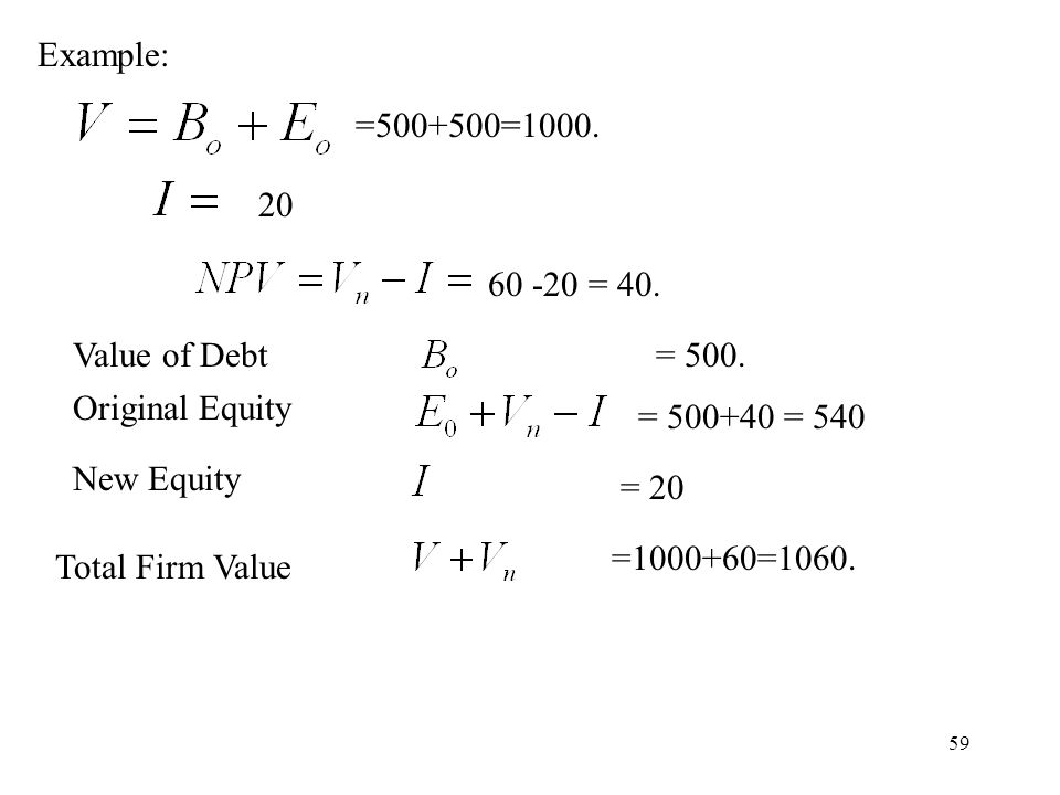 Example: =500+500=1000. 20. 60 -20 = 40. Value of Debt. = 500. Original Equity. = 500+40 = 540.