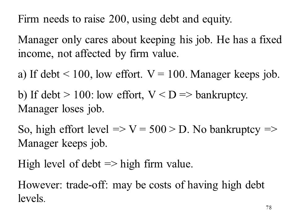 Firm needs to raise 200, using debt and equity.
