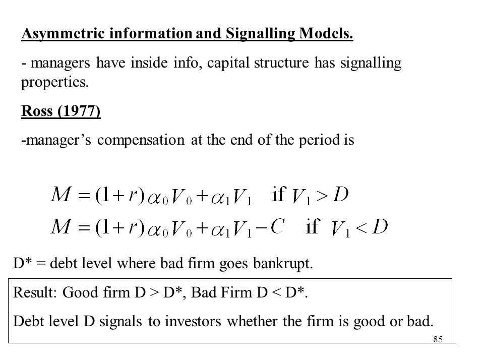 Asymmetric information and Signalling Models.
