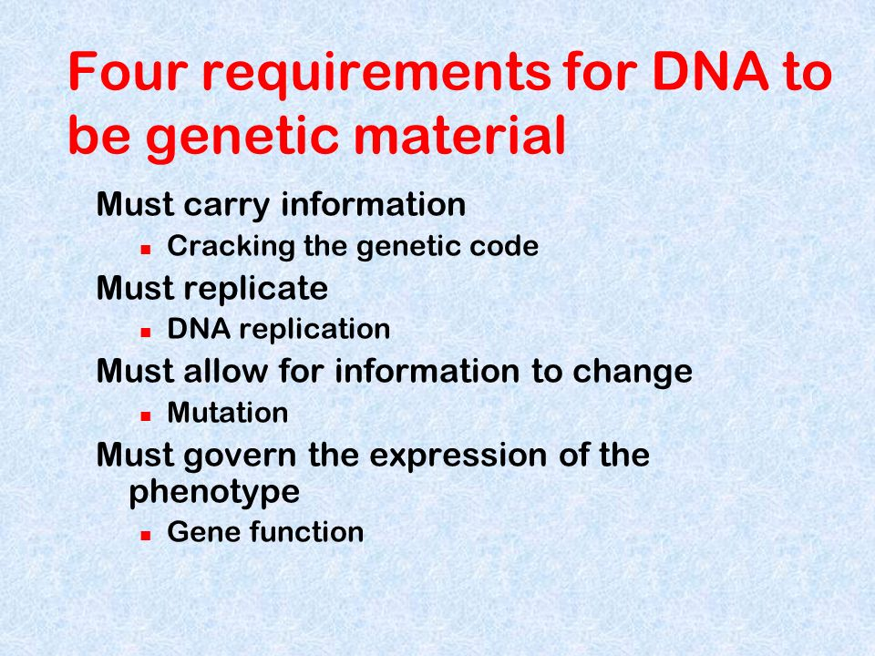 Four requirements for DNA to be genetic material