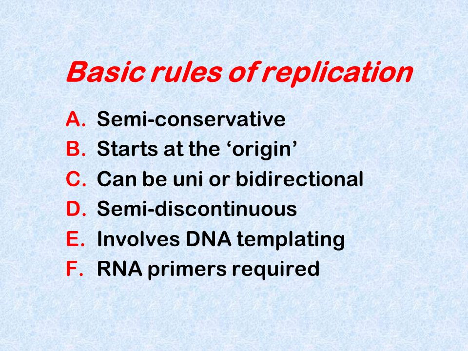 Basic rules of replication