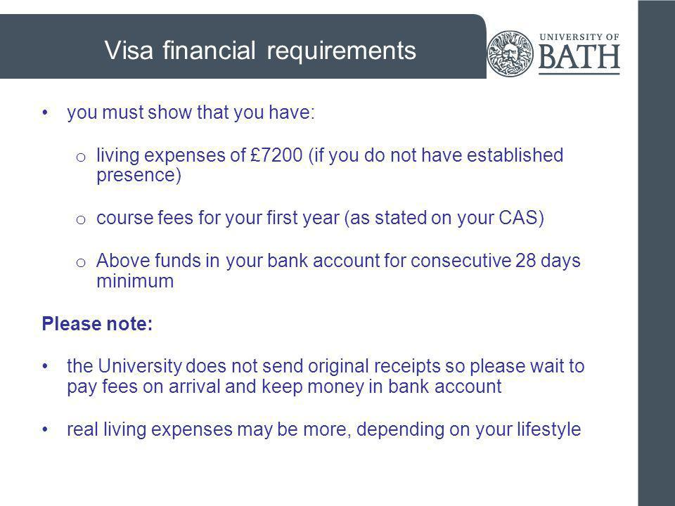 Visa financial requirements