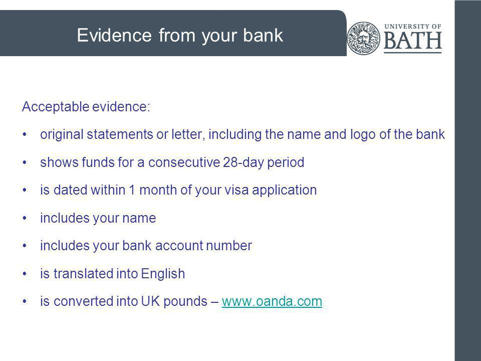 Evidence from your bank