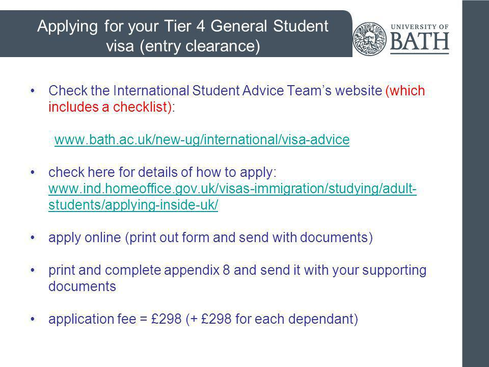 Applying for your Tier 4 General Student visa (entry clearance)