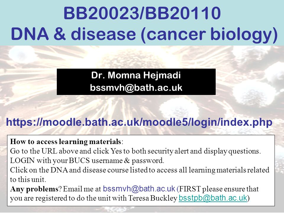 BB20023/BB20110 DNA & disease (cancer biology)