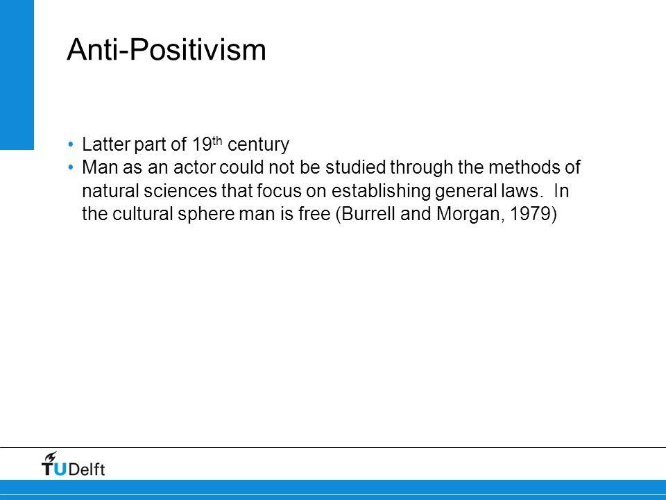 Anti-Positivism Latter part of 19th century