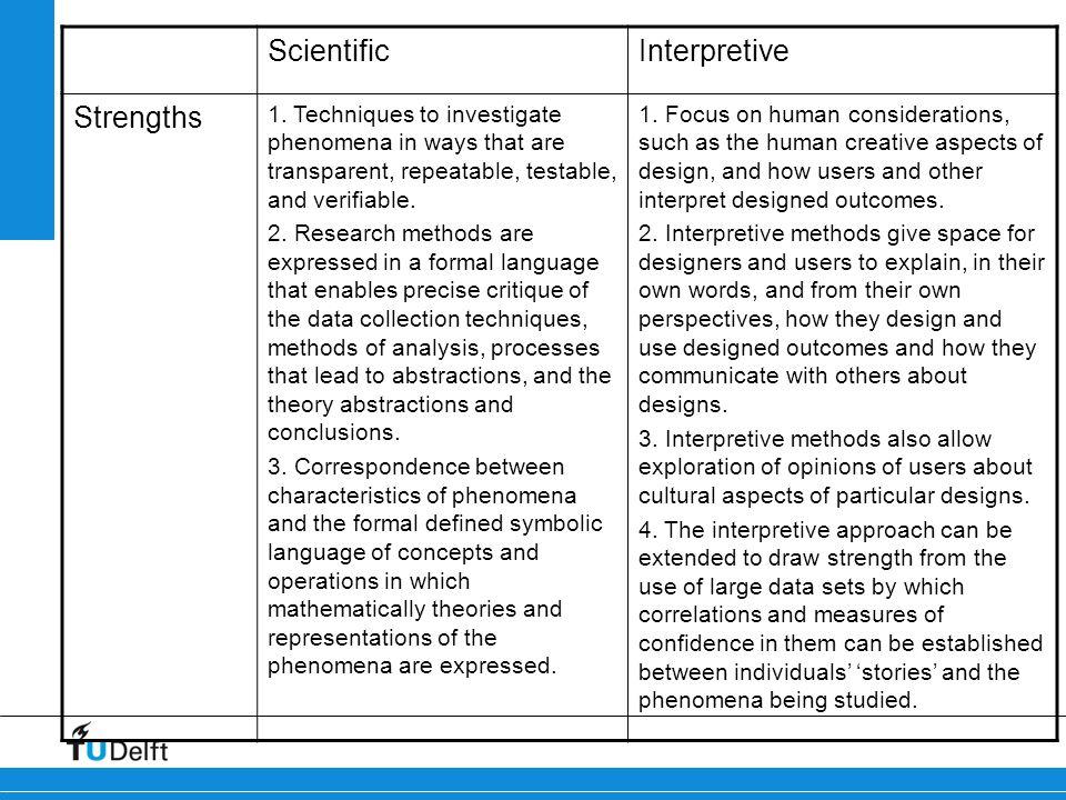Scientific Interpretive Strengths