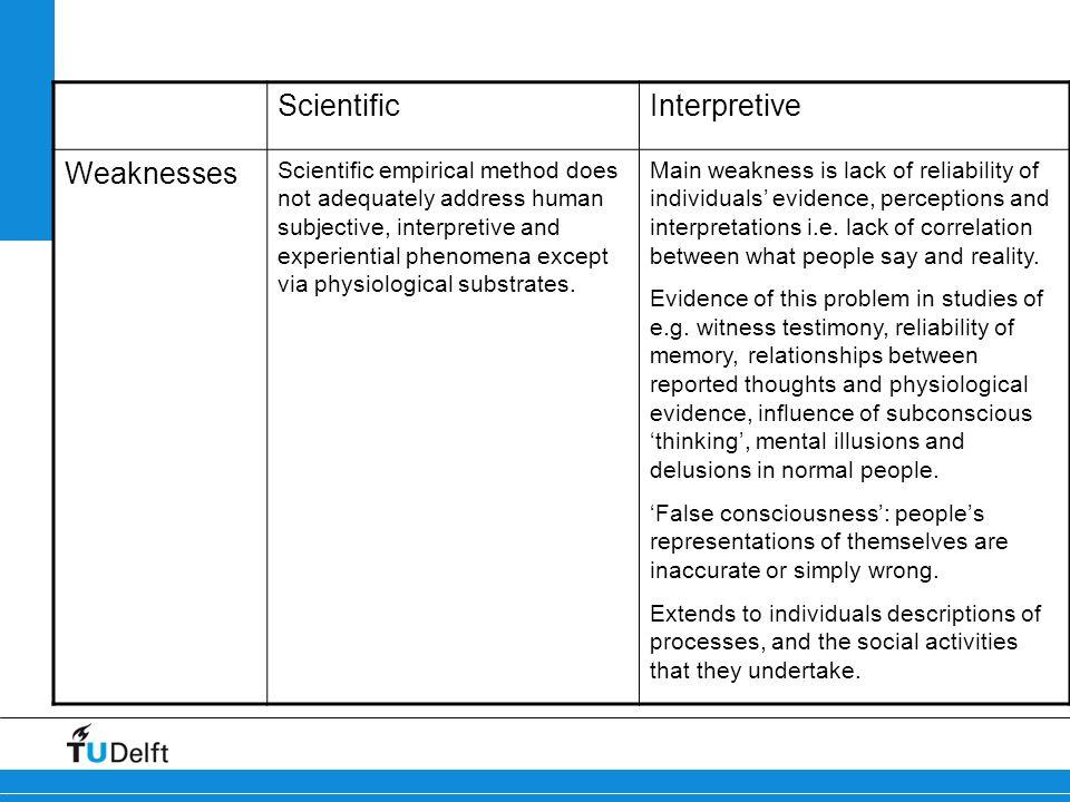 Scientific Interpretive Weaknesses