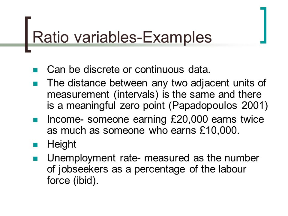 Ratio variables-Examples