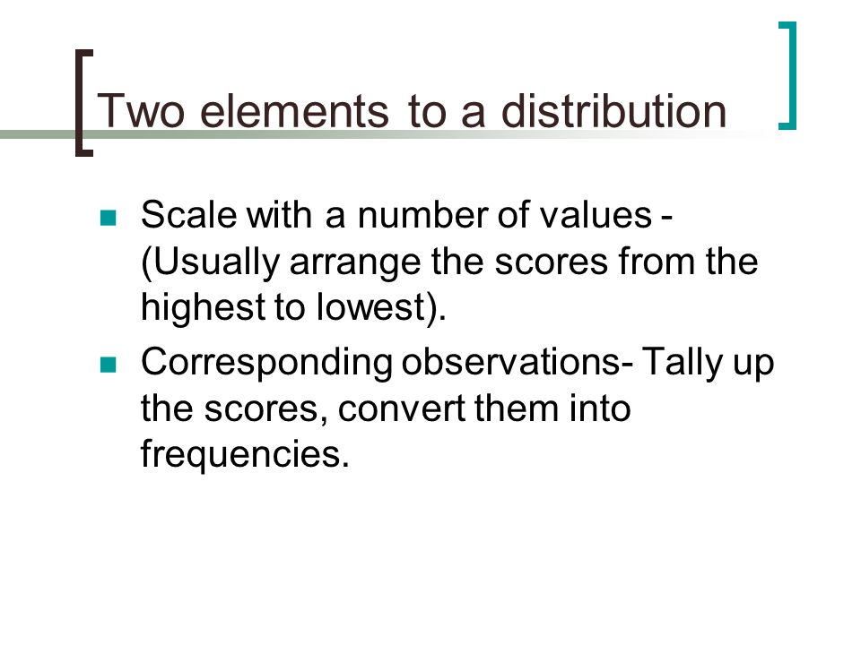 Two elements to a distribution