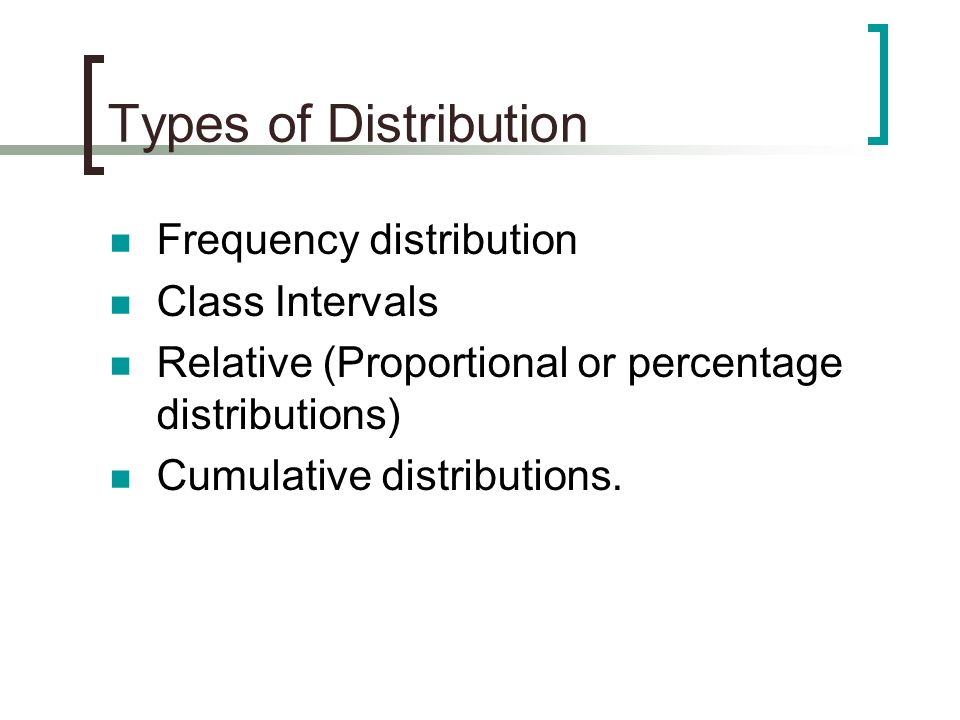 Types of Distribution Frequency distribution Class Intervals