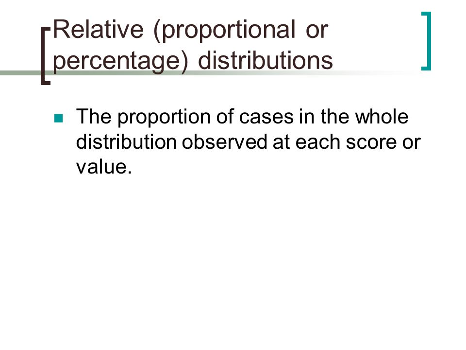 Relative (proportional or percentage) distributions