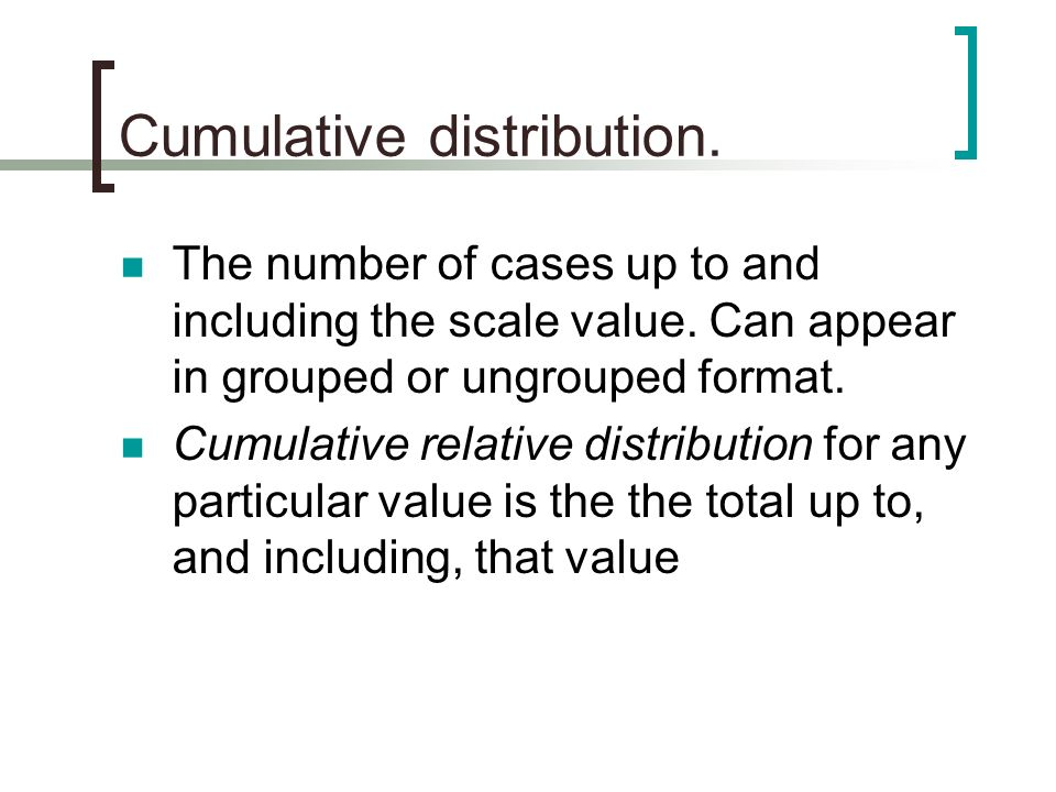 Cumulative distribution.