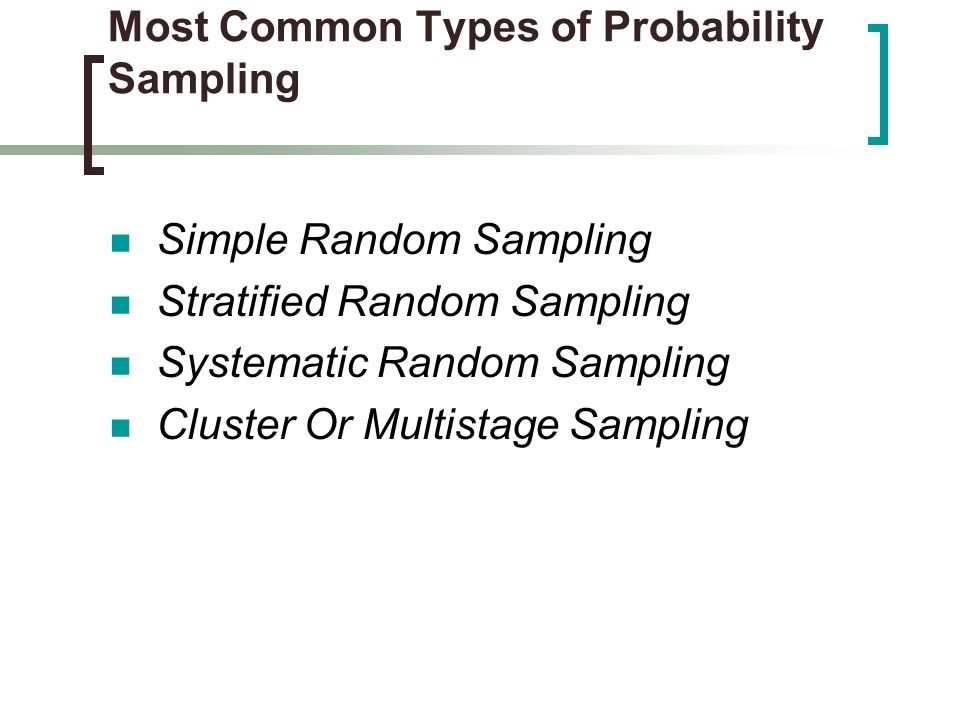 Most Common Types of Probability Sampling