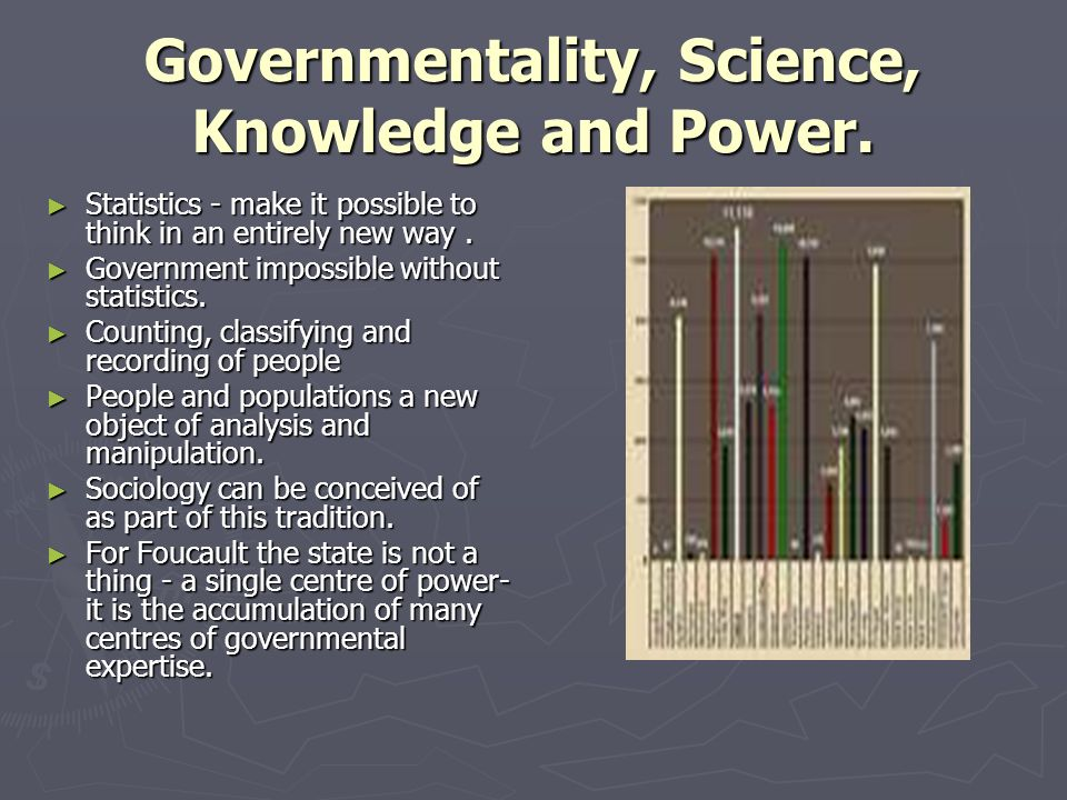 Governmentality, Science, Knowledge and Power.