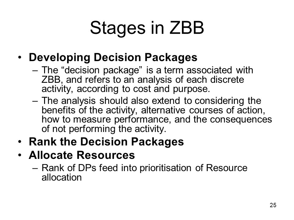 Stages in ZBB Developing Decision Packages Rank the Decision Packages