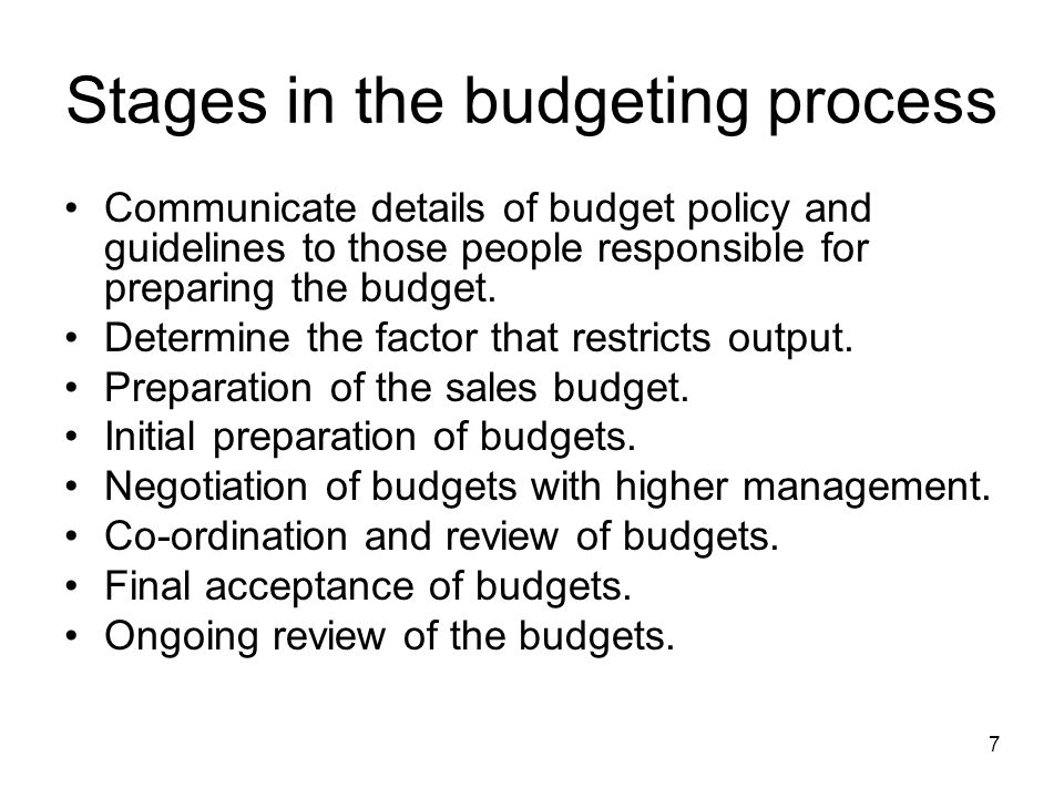 Stages in the budgeting process