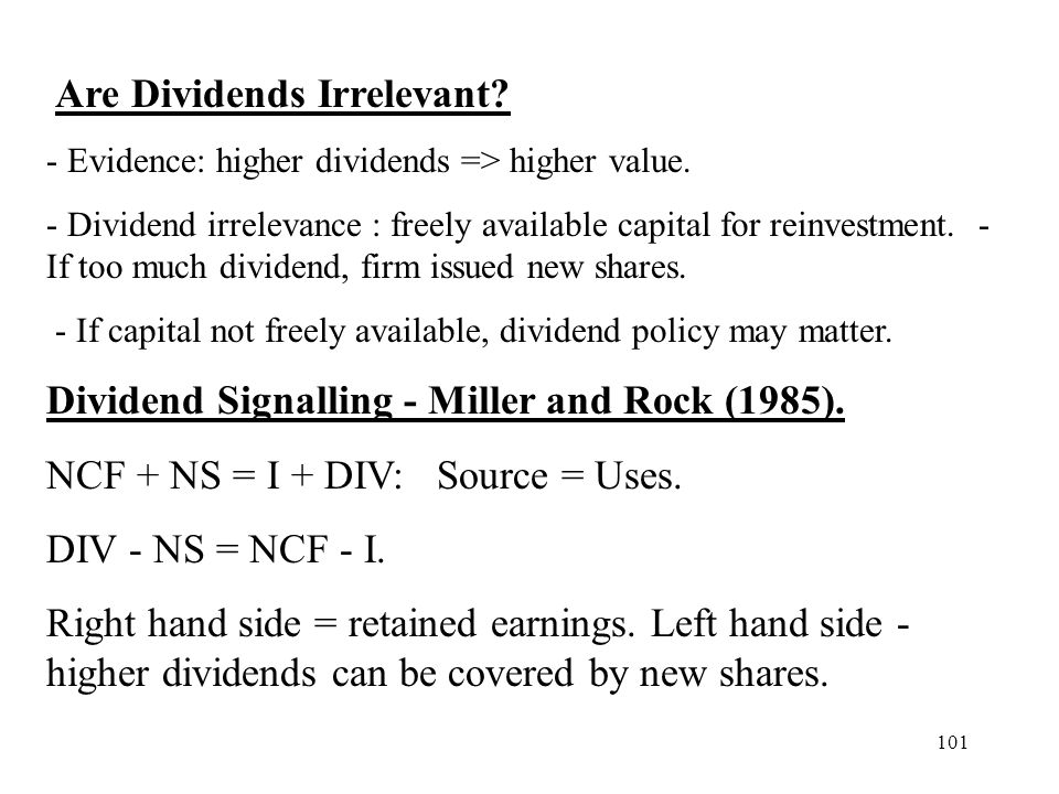 Dividend Signalling - Miller and Rock (1985).