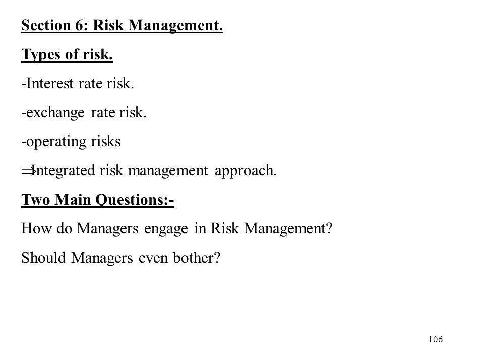Section 6: Risk Management.