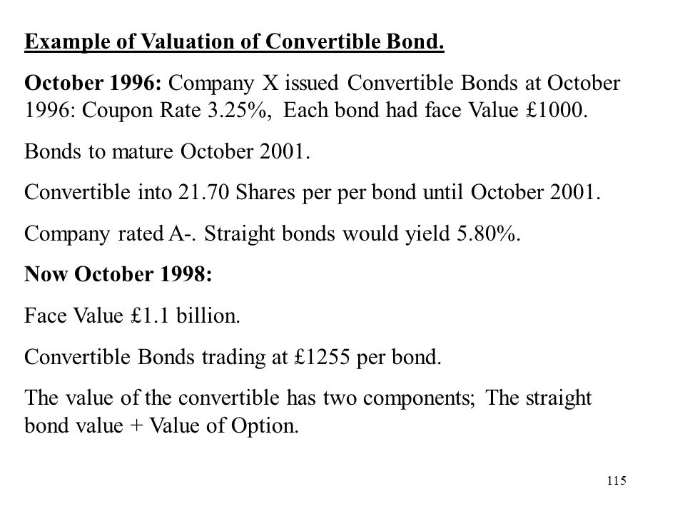 Example of Valuation of Convertible Bond.