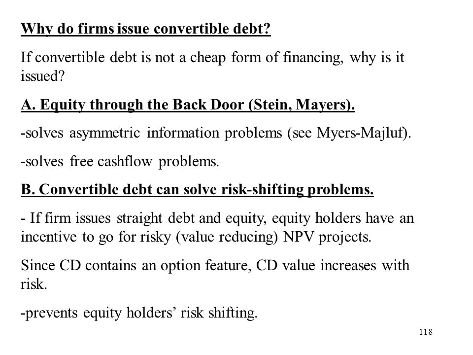 Why do firms issue convertible debt