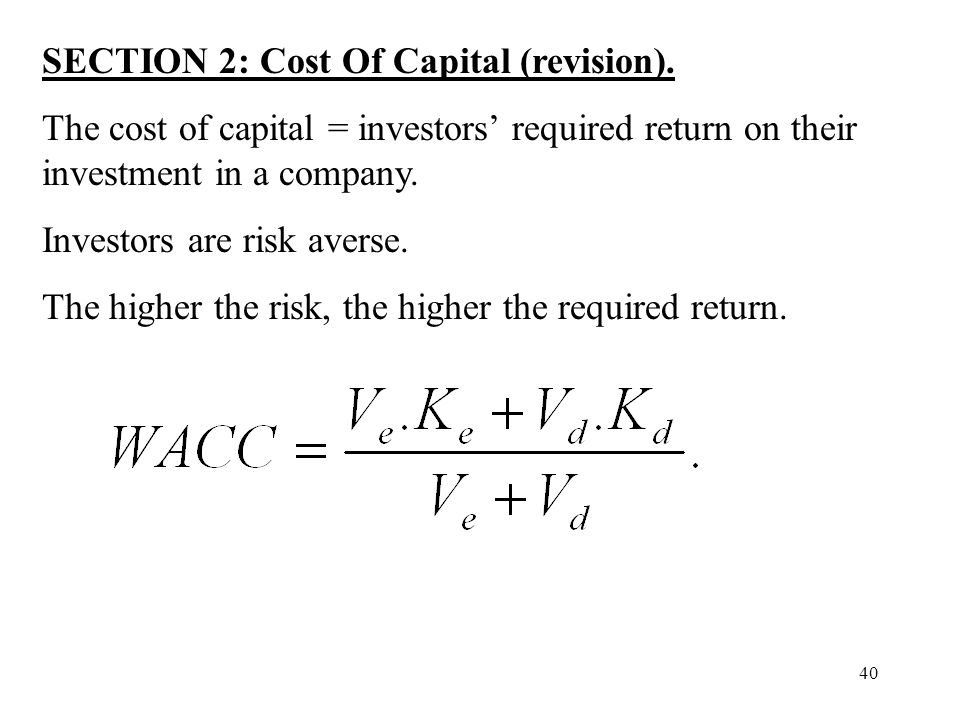 SECTION 2: Cost Of Capital (revision).