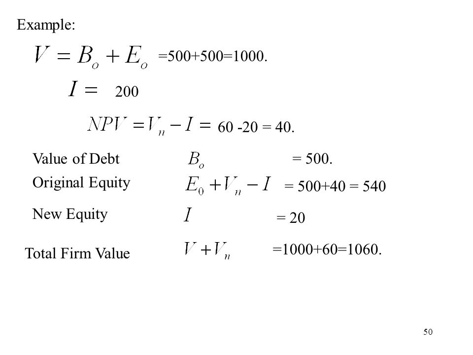 Example: =500+500=1000. 200. 60 -20 = 40. Value of Debt. = 500. Original Equity. = 500+40 = 540.