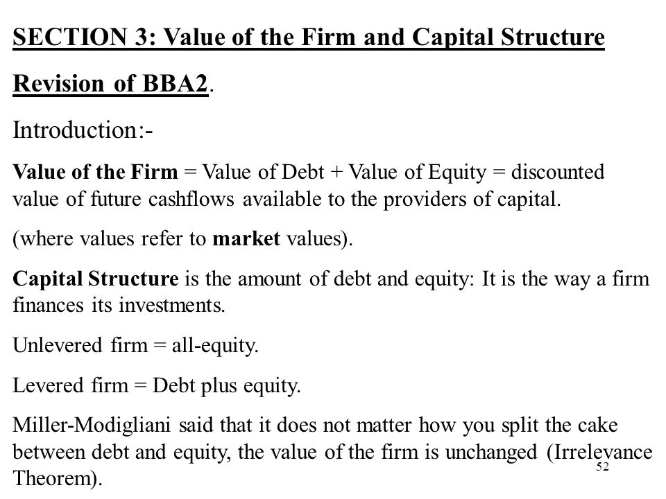 SECTION 3: Value of the Firm and Capital Structure Revision of BBA2.