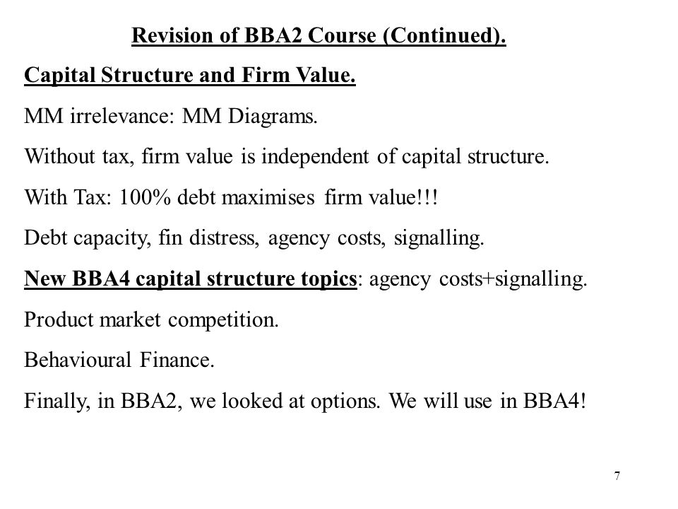 Revision of BBA2 Course (Continued).