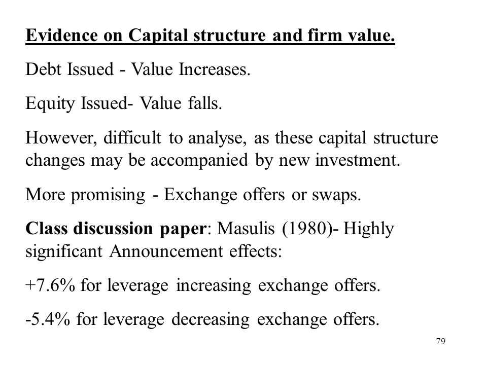 Evidence on Capital structure and firm value.
