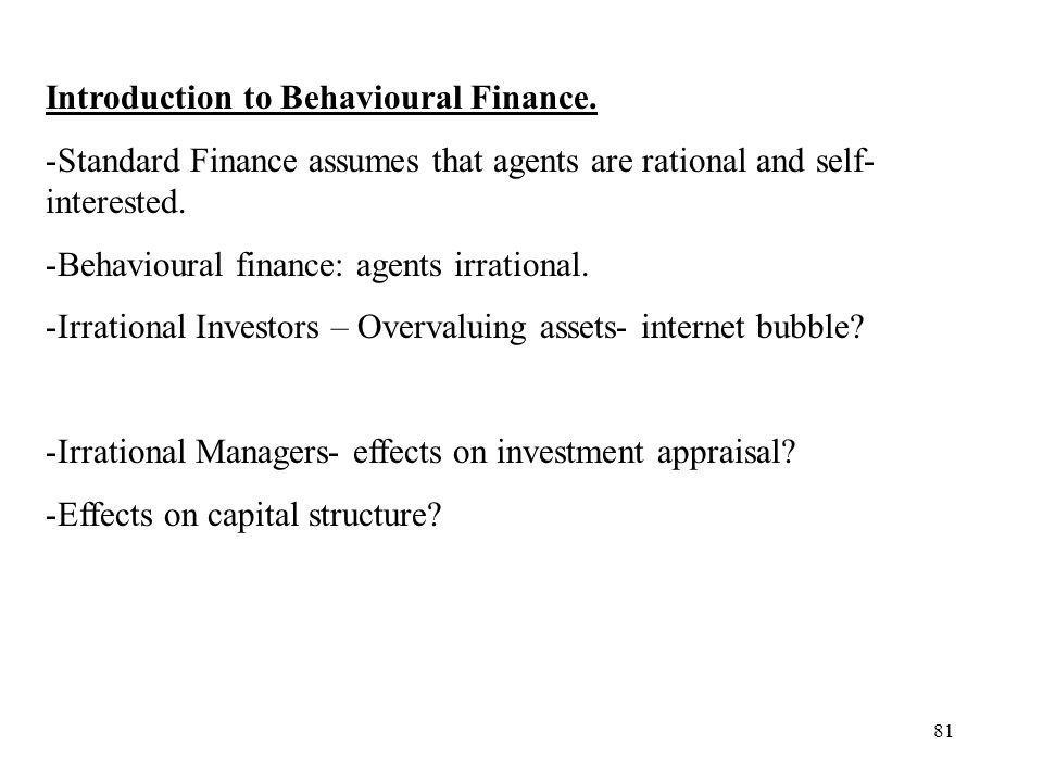 Introduction to Behavioural Finance.