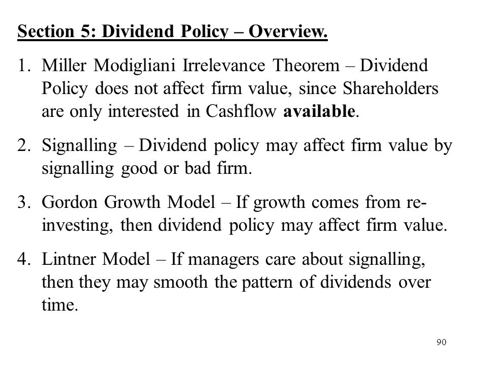 Section 5: Dividend Policy – Overview.