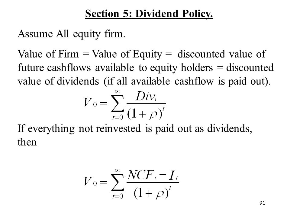Section 5: Dividend Policy.