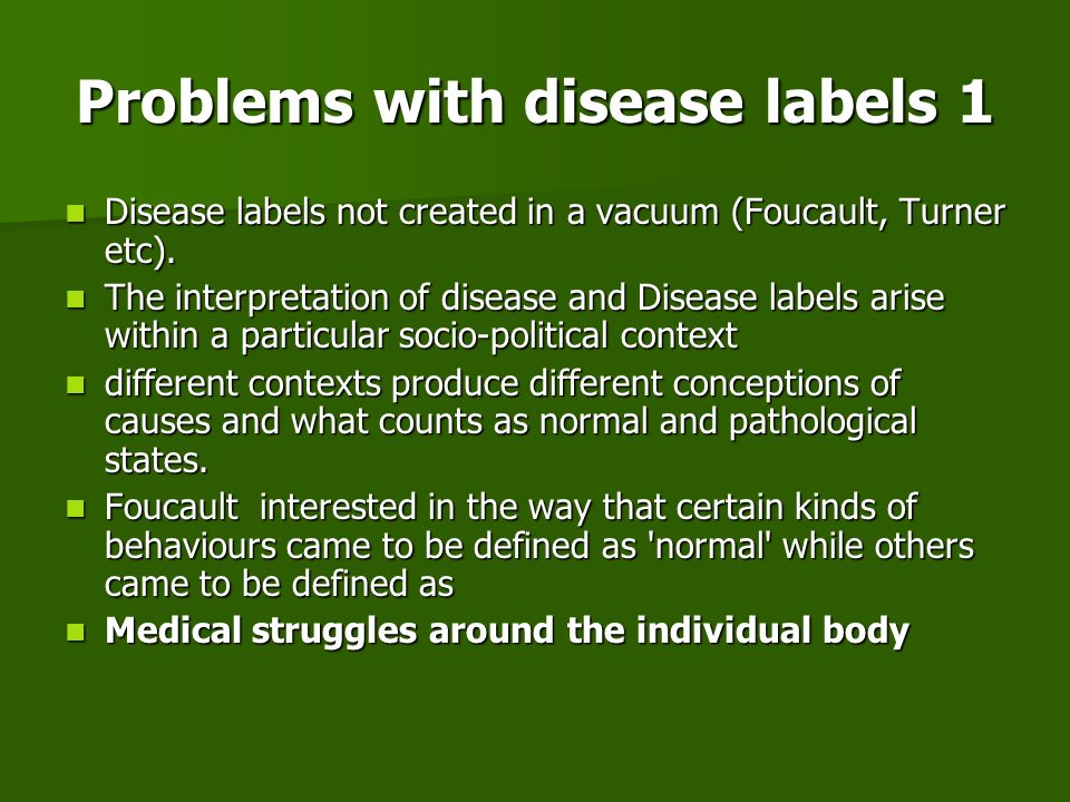 Problems with disease labels 1