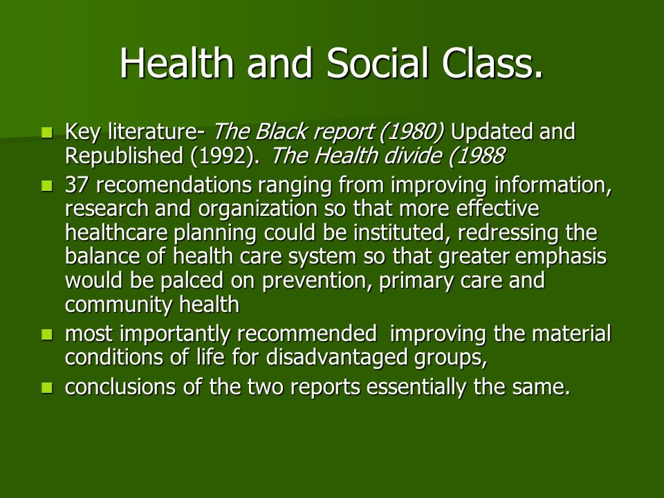 Health and Social Class.