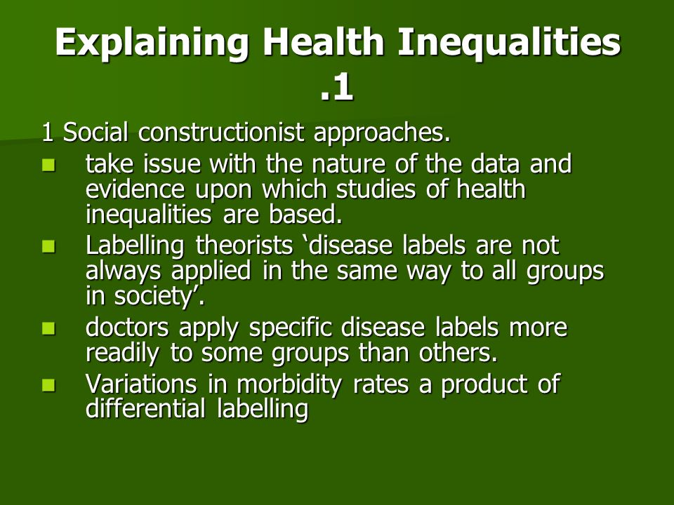Explaining Health Inequalities .1