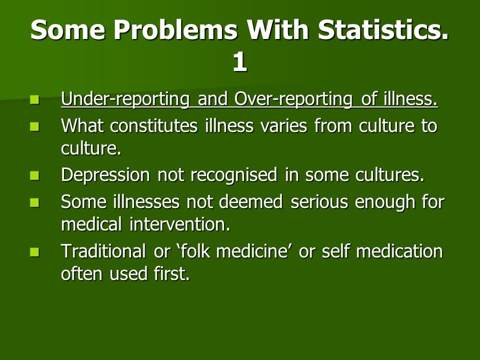 Some Problems With Statistics. 1