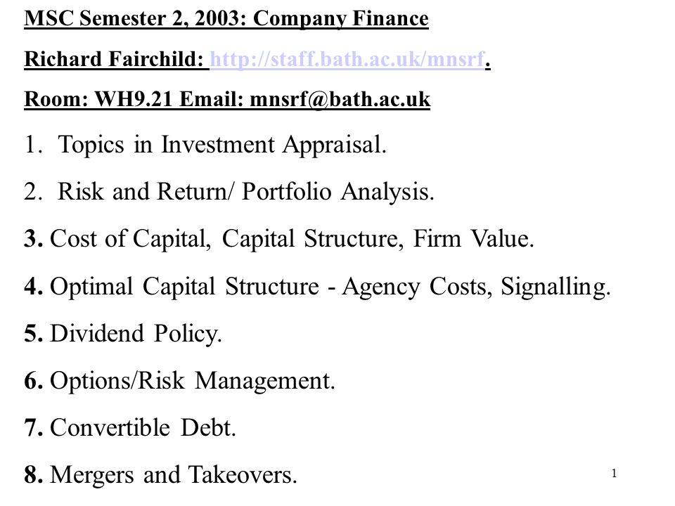 Topics in Investment Appraisal. Risk and Return/ Portfolio Analysis.