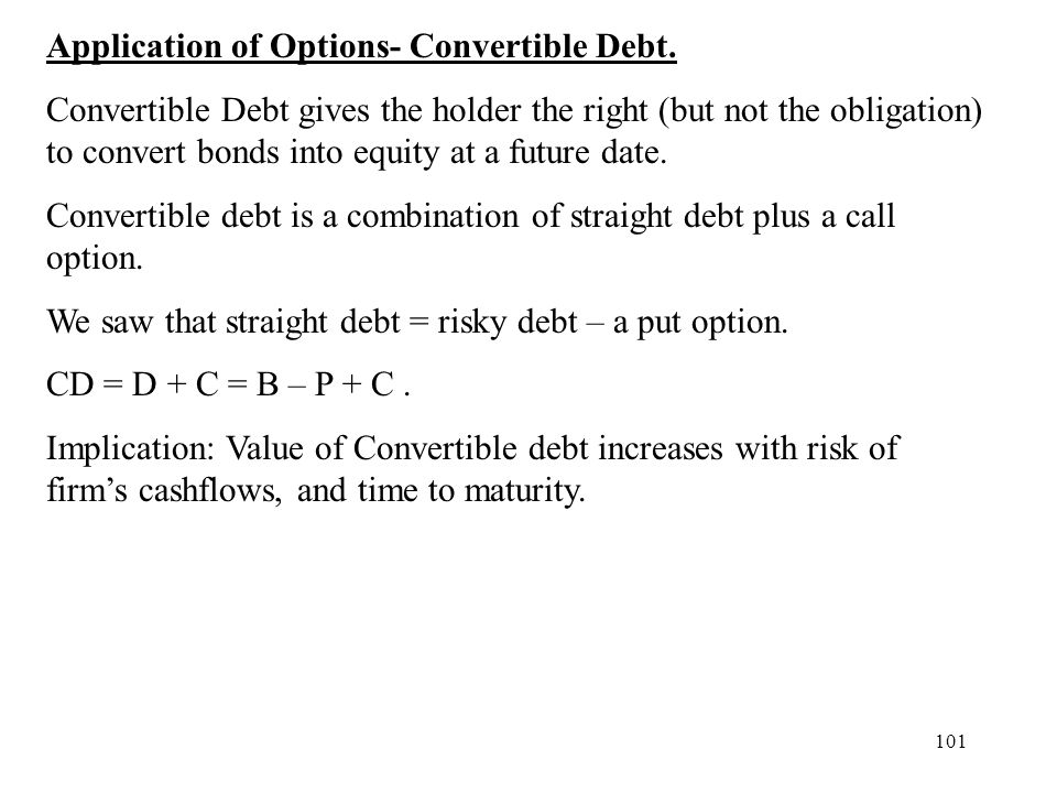 Application of Options- Convertible Debt.