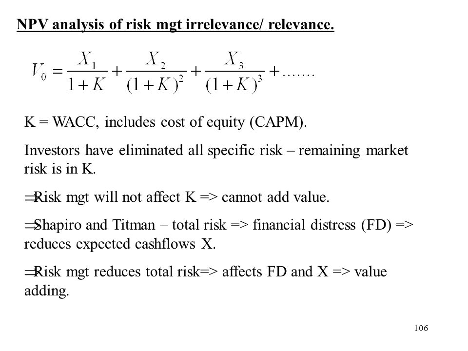 NPV analysis of risk mgt irrelevance/ relevance.